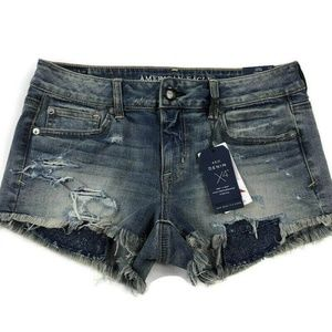American Eagle Low Rise Shortie Distressed Shorts
